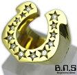 CZストーンゴールドホースシューリング ブラス 真鍮 ジルコニア (メンズ レディース 指輪 馬蹄 蹄鉄 金色 ゴールド)