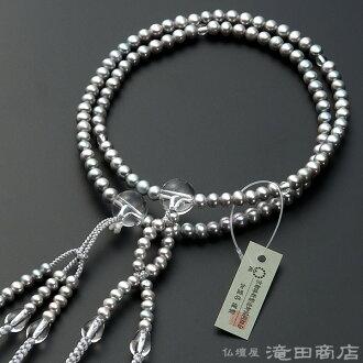 淡水珍珠 (灰色) 的日本佛教這種晶體與八絹花梵天束念珠