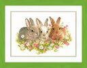 【ベルバコ】 クロスステッチ 刺繍キット 0143866 Rabbits in a Field of Flowers お花畑のうさぎ【あす楽】【HLS_DU】