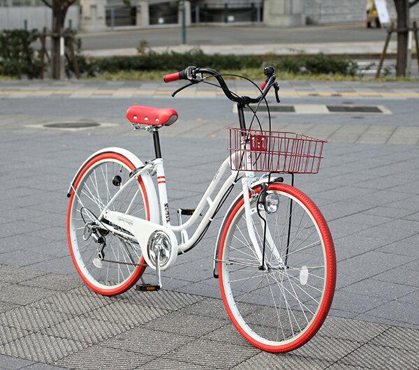 自転車の 自転車 軽快車とは : カゴカギライト付おしゃれ軽快 ...