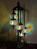 トルコ風モザイクランプ5灯【送料無料】目に優しい癒しの光りです♪LED電球をもれなくお付けします熱くならない・傘は回すタイプなので電球替えも安心・安全♪