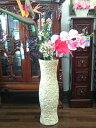 陶器製シャルロットラウンドヴェイス高さ62cmのローズヴェイス薔薇雑貨 おしゃれ プリンセス ロココ【プチギフト】ローズ ピンク