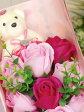 格安!良い香りがいつまでもつづく♪くまちゃん&薔薇のフラワーソープブーケ豪華花束♪化粧箱入りです。ギフトに最適☆【送料無料】☆薔薇雑貨 おしゃれ プリンセス ロココ【プチギフト】ローズ ピンク