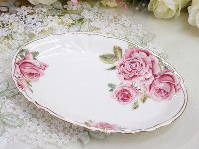 薔薇のディッシュプレートだ円26cm皿ケーキ皿朝ご飯デザートプレートサラダ皿取り皿ケーキプレートおし