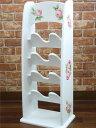 白い 薔薇柄 スリッパラック【送料無料】久々再入荷しました♪ 4段 スリッパ立て ホワイト スリム ...
