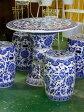 景徳鎮のガーデン5点セットテーブル直径70cmの大きいタイプ!【送料無料】