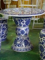 景徳鎮のガーデン5点セットテーブル直径70cmの大きいタイプ!【送料無料】定価より50%off→楽天特価35,640円にて♪