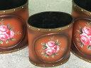 改良して、更に可愛くなって再入荷♪茶系薔薇の絵柄付きごみ箱3点セット【送料無料】