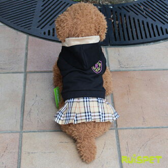 Emblem check skirt one piece / black (XS-XL size) one co-clothes dog clothes dogware 《 05P01Feb14 》