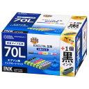 オーム電機 INK-E70LB-6P 1 エプソン互換 IC6CL70L 染料6色 ブラック増量 01-4258 INKE70LB6P1