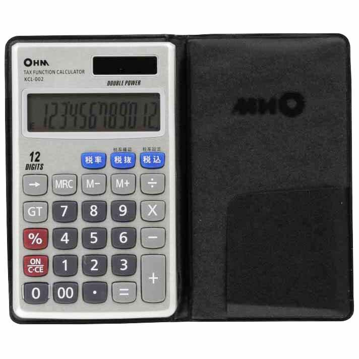 オーム電機 KCL-002 2電源 税計算機能付 電卓 [品番]07-7983 KCL002
