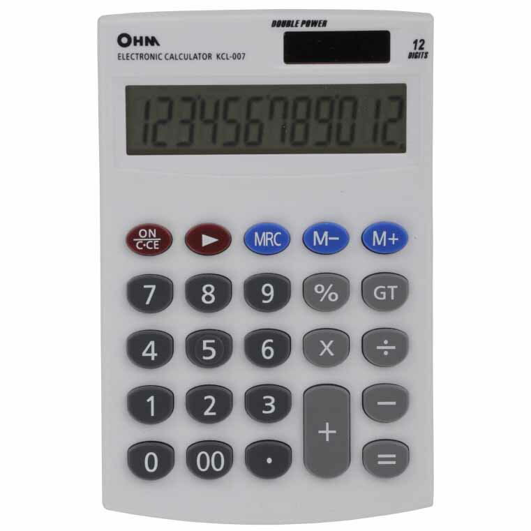 オーム電機 KCL-007 2電源 シンプル電卓 [品番]07-7988 KCL007