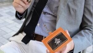 日本製本革IDカードホルダーリール付名刺定期パスケースリールネックホルダーケース本革牛革レザー(プレゼント、贈り物、ギフト)(誕生日、入学祝い、進級祝い、昇進祝い、退職祝い)メール便可【楽ギフ_包装】