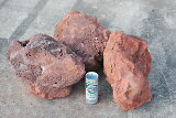 【 【】保水する玉石!溶岩玉石3個セット!長辺300mm赤色の軽い溶岩玉石です