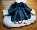 新入荷)豪華なミンクコート新品1点物ホワイト×ブルーM・レデ...