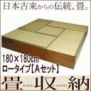 畳ユニット/畳収納/畳ボックス/セットA・180×180cm・ロータイプ・ブラウン【smtb-f】