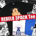 REBEL-8 Tシャツ3枚パック Mサイズのみ(REBEL EIGHT)(メンズサイズ)