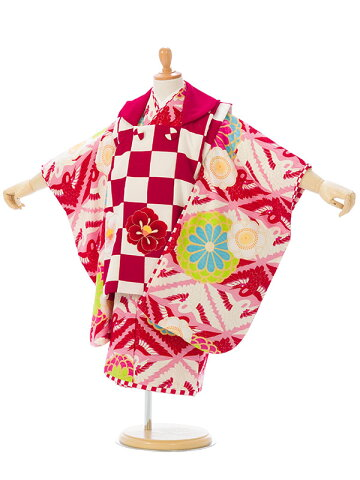 【E-H-323】ブランド[JAPAN STYLE]被布:紅白 着物:ピンク【七五三 3歳着物レンタル】【七五三 被布】【貸衣装】【往復送料無料】【七五三フルセット付】【髪飾り付】【簡単な着せ方マニュアル付】【結婚式】【JAPAN STYLE×村田諒太】【レンタル】