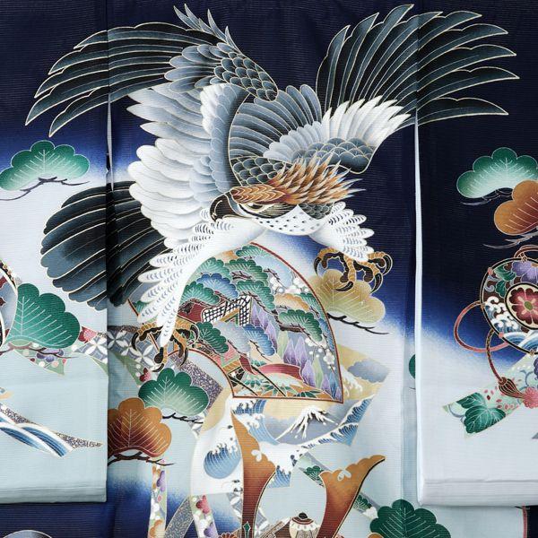 【レンタル】絽 正絹 飛翔鷹 兜 几帳〔産着レ...の紹介画像2