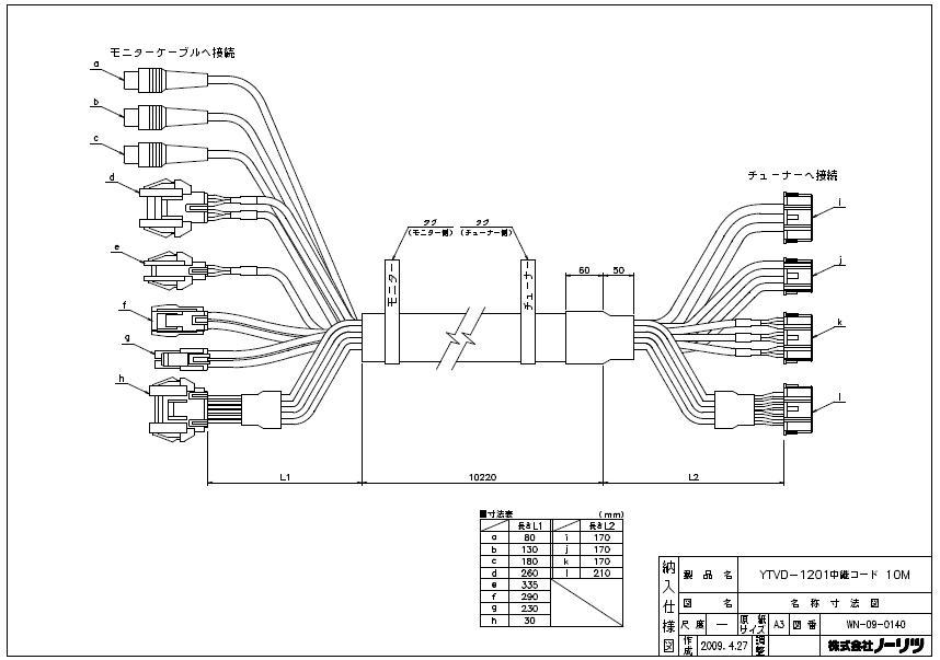 【ノーリツ】DECAZO デカゾー用中継コード10m液晶防水テレビ地デジハイビジョン浴室テレビYTVD-1201W-RC用