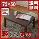 ローテーブル 長方形 75×50cm ET-7550(WBR) ウォルナット 座卓 キュービックテー...