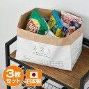 マチの大きな ペーパーバッグ 3枚セット 自立 おしゃれ 収納 収納ボックス 米袋 日本製 紙袋 食品ストッカー おもちゃ 新聞入れ スリッパ オムツ シンプル 折りたたみ 3個セット 東洋ケース【送料無料】