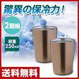 山善(YAMAZEN) マジックグラス250ml(2個組) ITD-250(MTGD)*2 ゴールド 真空グラス ステンレスグラス 保冷 保温 【送料無料】