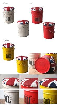 スツール/アイアンスツール/バケツスツール/雑貨インテリアUKユニオンジャックのフタ付収納ボックスバケツ簡易スツール20Lスチール製オイル缶型