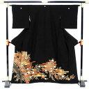 Kimono - 【正絹】【中古】単品販売 黒留袖 秋風の誘い 五つ紋 丸に抱茗荷