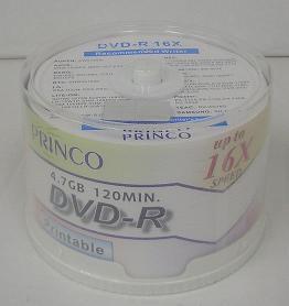☆ 16 x ☆ PRINCO printable DVD-r 4.7 GB spindle Pack 4 Pack (200 cards)