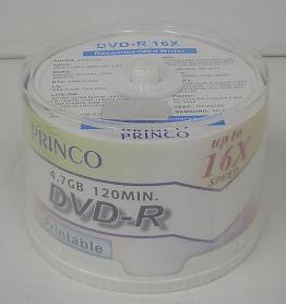 ☆ 16 x ☆ PRINCO printable DVD-r 4.7 GB spindle Pack 4 Pack (200 cards)