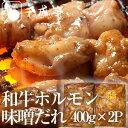 【送料無料】和牛ホルモン[てっちゃん・アカセン]味噌ダレ400g×2P
