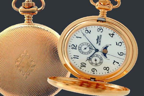 MONTRES モントレス ムーンフェイス 933 懐中時計 柄付 ゴールド/アラビア