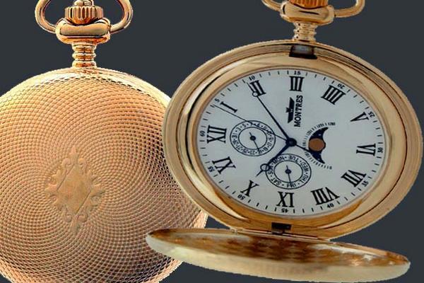 MONTRES モントレス ムーンフェイス 933GR 懐中時計 柄付 ゴールド/ローマ