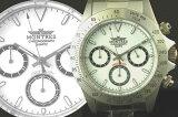 【ラッピング無料】MONTRES モントレス クロノグラフ 腕時計 68199 ホワイト メンズ【楽ギフ包装】