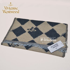 ヴィヴィアン・ウエストウッド Vivienne Westwood 男女兼用 17AW ウール66% ブラック・ベージュ 81030011-10069-PL-N206 BLACK-BEIGE 37×180 オーブロゴ入り ヴィヴィアンマフラー