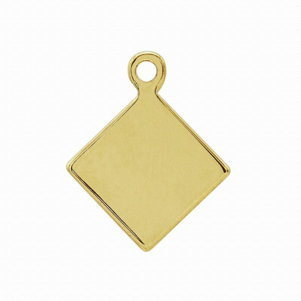 【1個売り】 チャームパーツ 18金 イエローゴールド 菱型プレートチャーム ダイヤひし形 手芸用品 金具 飾り パーツ 部品 K18YG 18k 貴金属
