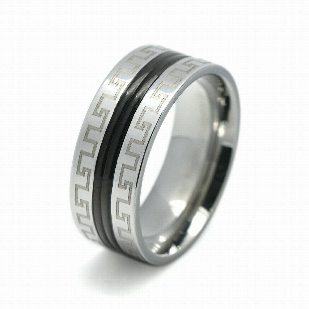 黒のラインにギリシア雷文が入ったステンレスリング(メアンダー模様/らいもん/ライモン)「指輪/ステンレスアクセサリー」
