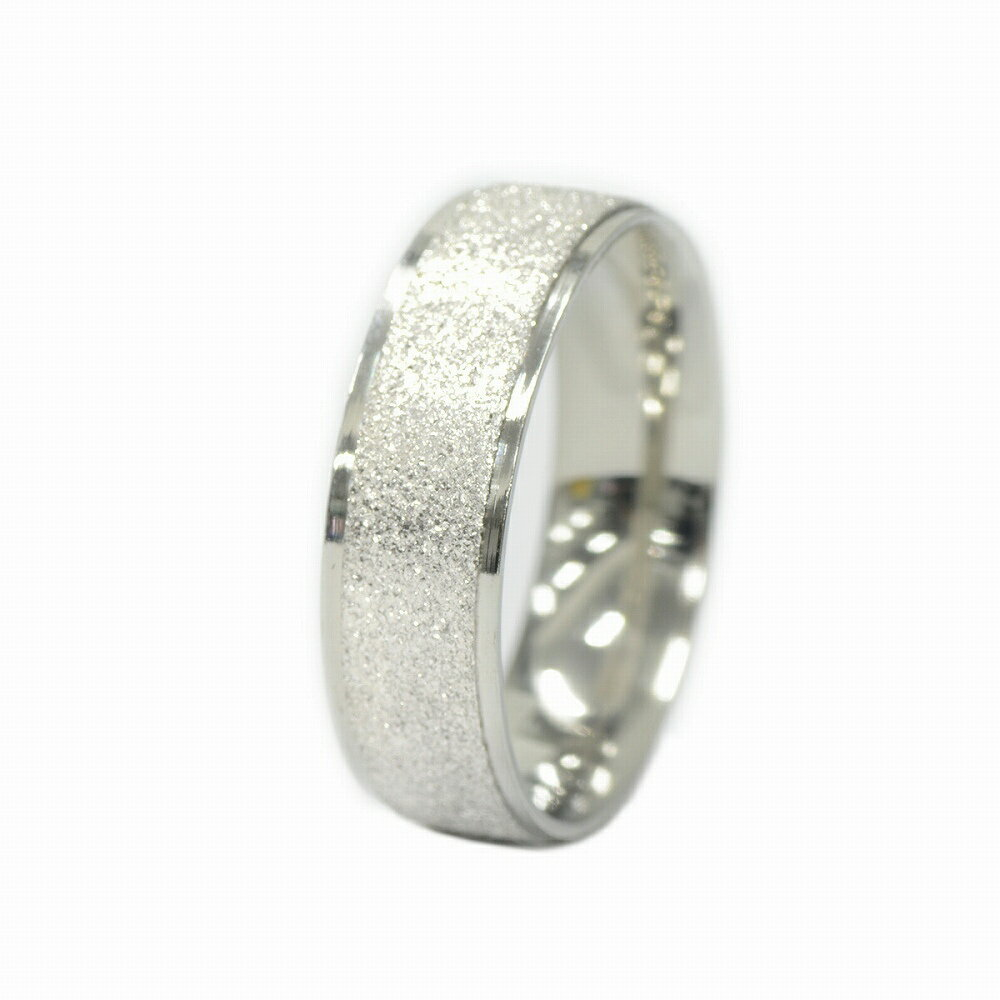 【サージカルステンレス】センターラインラメコーティングの段付きリング(幅6.0mm)(銀色/シルバー)「指輪/ステンレスアクセサリー」