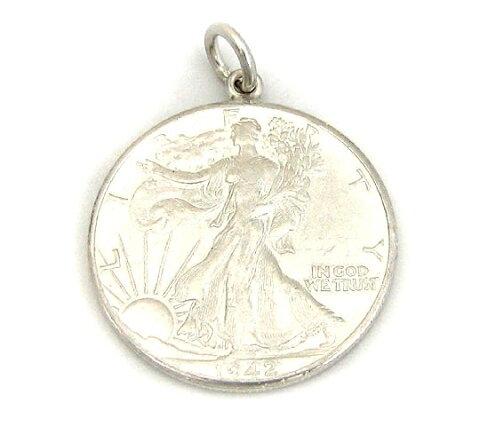 アメリカ古銭使用!ウォーキングリバティー50セント硬貨 ハーフダラー 50CENT(1916〜1947年)(女神×イーグル)(ネックレスチェーン付きペンダントトップ)「コイン/銀/シルバーアクセサリー/シルバー925」