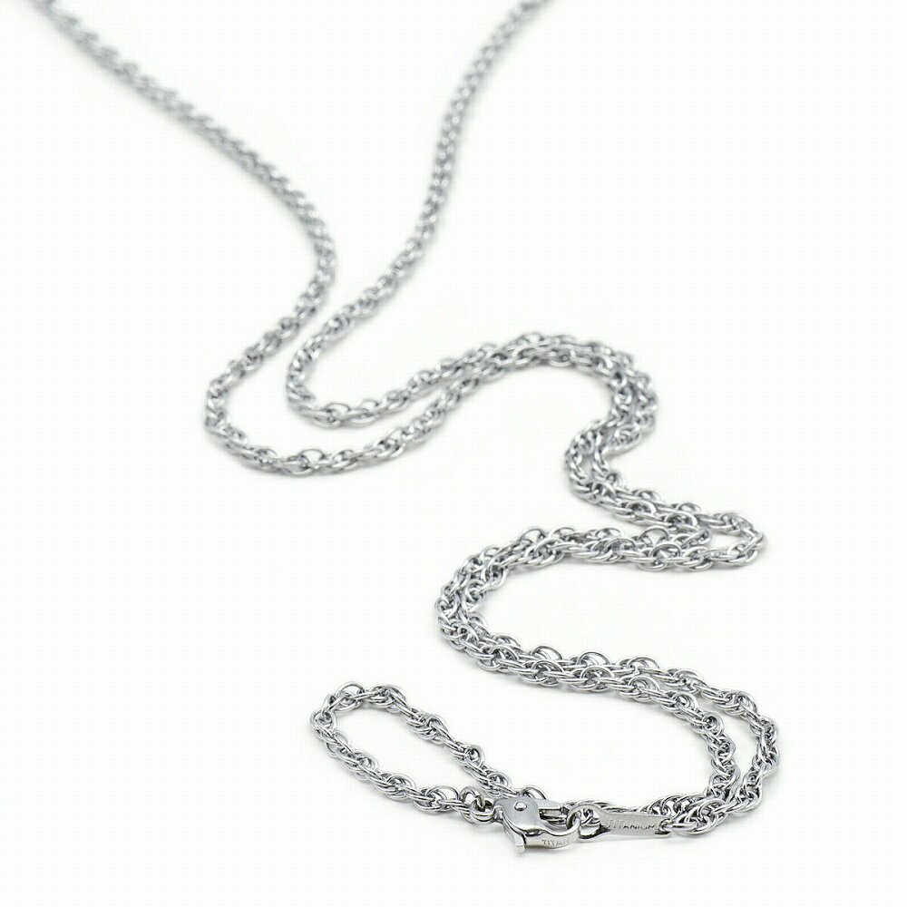 【明るい色の純チタン】ルーズロープチェーン・ネックレス(2.4mm/70cm)「鎖タイプ/チタンアクセサリー」