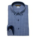 ワイシャツ メンズ ドレスシャツ シャツ シャツハウス レギュラー フィット ブルー ネイビー チェック ドビー ラウンド 丸襟 ボタンダウン M L LL 2L スマートカジュアル