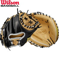 送料無料 【USA物】ウィルソン 野球 硬式 キャッチャーミット A2000 シリーズ Wilson 捕手用 軟式使用可能 右投げ用 ミット ハーフムーンウェブ ブロンド/ブラックの画像