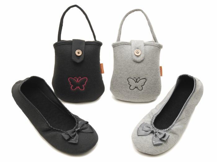 リボン・刺繍付き携帯スリッパ【人気商品】 【送料無料】...:e-slipper:10000044