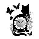 Wall Clock Sticker(ウォールクロックステッカー) キャットバタフライ WC-CB