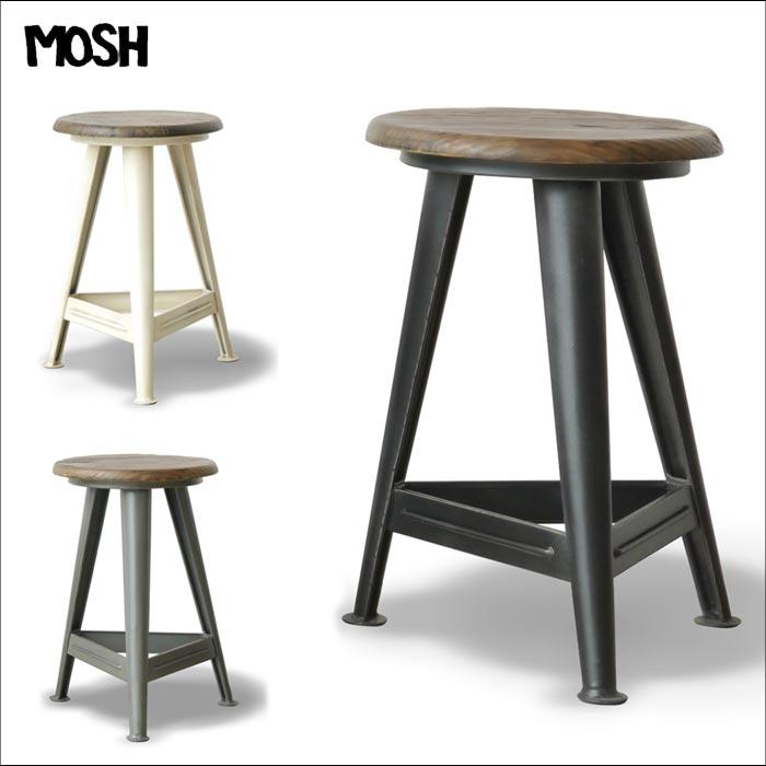 《MOSH》モッシュ アイアン レッグ スツール ビンテージ加工 OLD Furniture 什器 ストア ディプレイ 椅子 チェア 木製 アイアン IRON アンティーク 家具 GART ガルト インダストリアル iron-leg-stool
