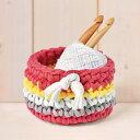 [YW-45] ニット布で編む ミニバスケット(ピンク) (ネコポス可能)