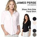 ジェームスパース レディース シャツ james perse 白 黒 無地 コットン シアー スラブ サイド コントラスト パネルシャツ