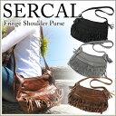 【送料無料】SERCAL サーカル レザー フリンジ パース ショルダー バッグ レディース 本皮 レザー 鞄 カバン SL504