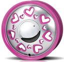 楽天Eタイヤショップ【ハスラーに!純正タイヤ装着できます!】【在庫OK!】【ホイール4枚】K・Quty ケー・キューティー 15×4.5 PCD100/4H +43 (カラー:ホワイト&レッド&ピンク)LOVE MAKE STYLE